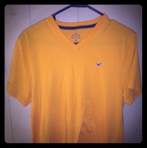 Hollister yellow v-neck t-shirt